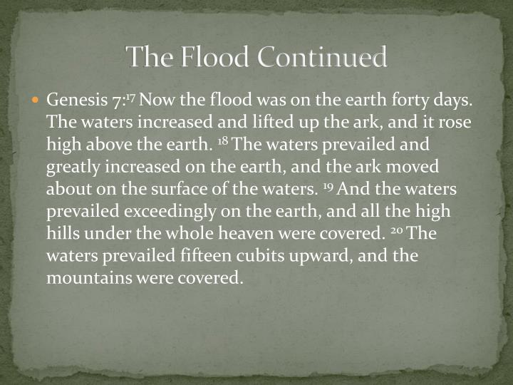 The Flood Continued
