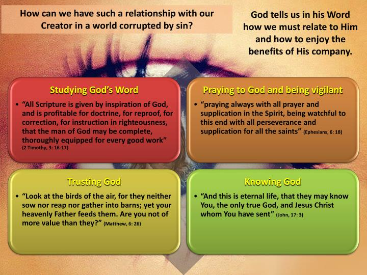 How can we have such a relationship with our Creator in a world corrupted by sin?