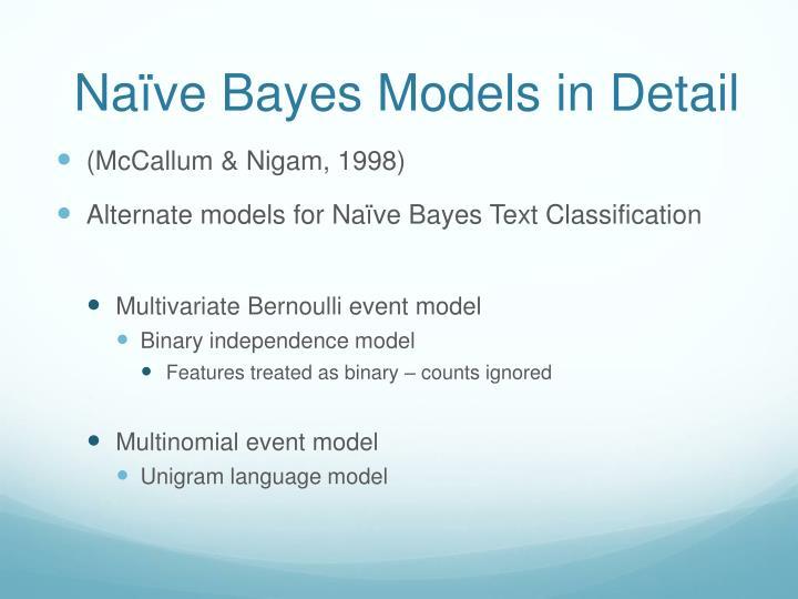 Naïve Bayes Models in Detail