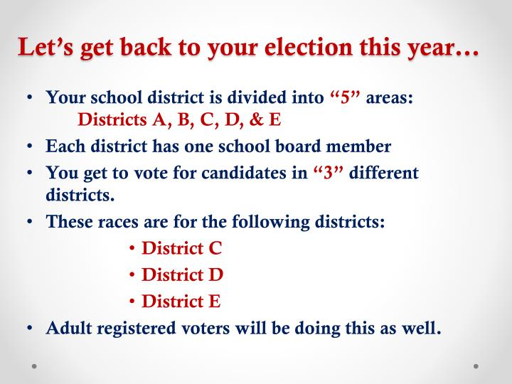 Let's get back to your election this year…