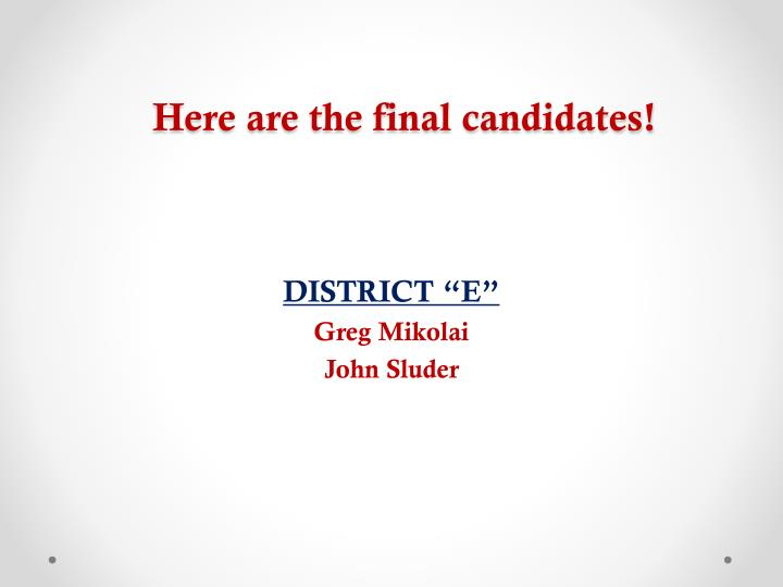 Here are the final candidates!