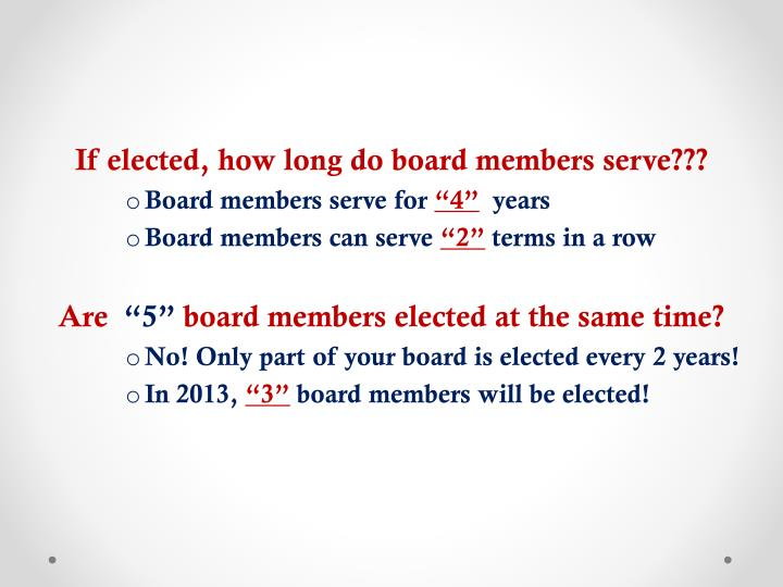 If elected, how long do board members serve???