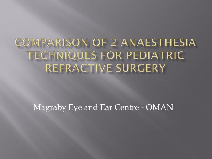 comparison of 2 anaesthesia techniques for pediatric refractive surgery n.