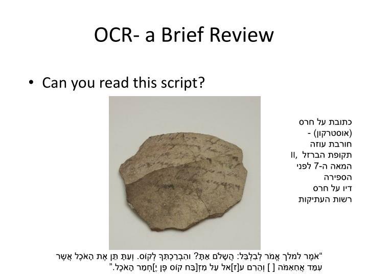 OCR- a Brief Review