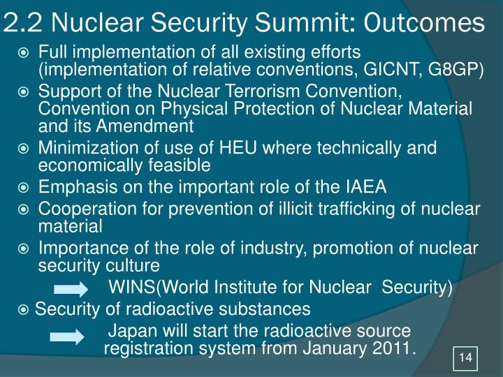 2.2 Nuclear Security Summit: Outcomes