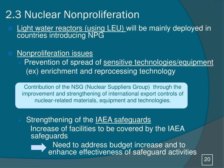2.3 Nuclear Nonproliferation