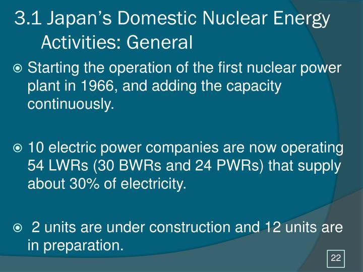 3.1 Japan's Domestic Nuclear Energy
