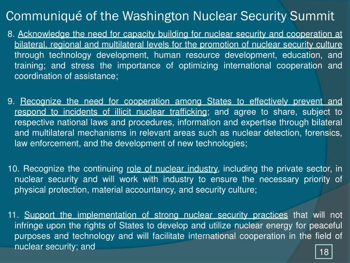 Communiqué of the Washington Nuclear Security Summit