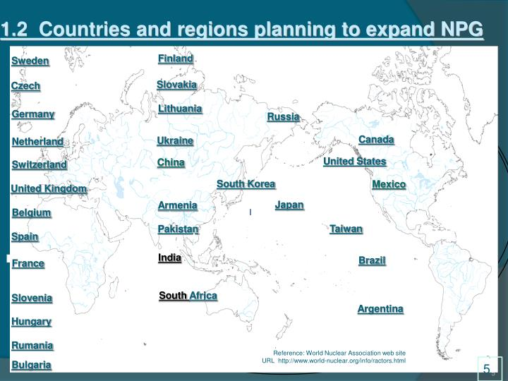 1.2  Countries and regions planning to expand NPG