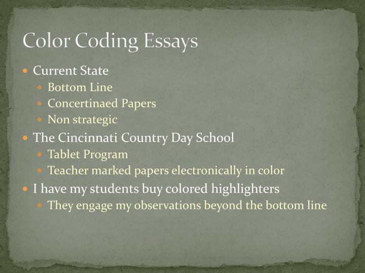 Color coding essays