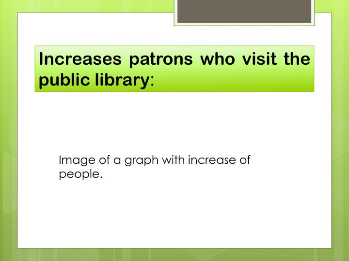 Increases patrons who visit the public library