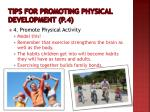tips for promoting physical development p 43