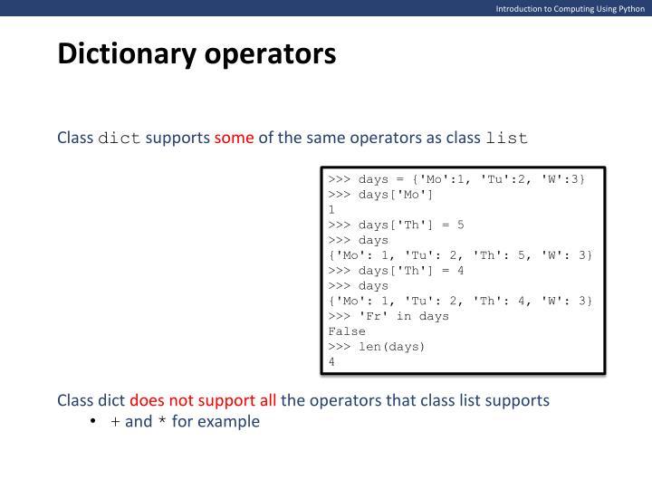 Dictionary operators