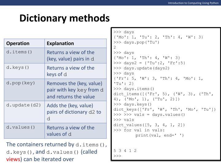 Dictionary methods