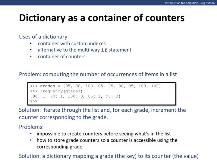 Dictionary as a container of counters