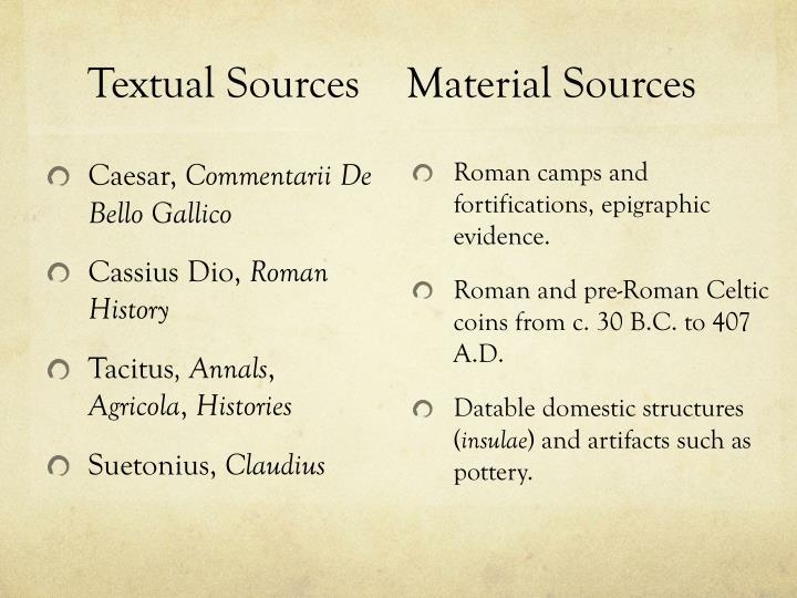 Textual sources material sources