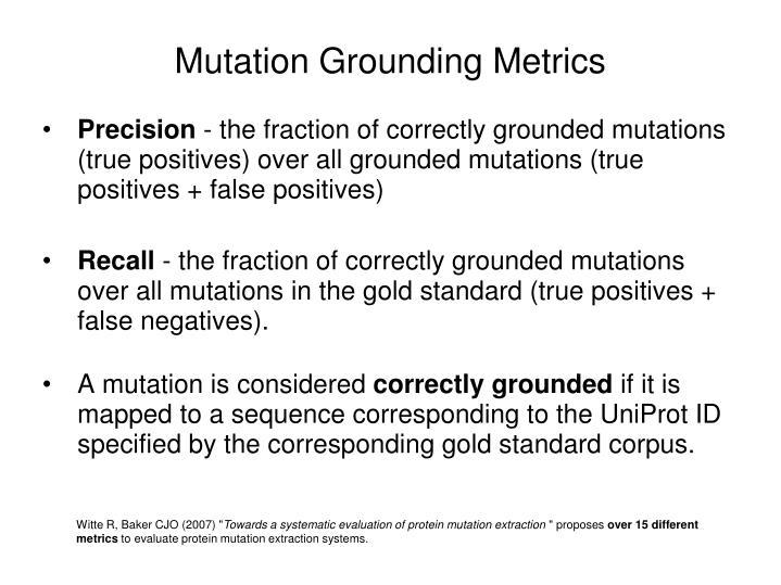 Mutation Grounding Metrics