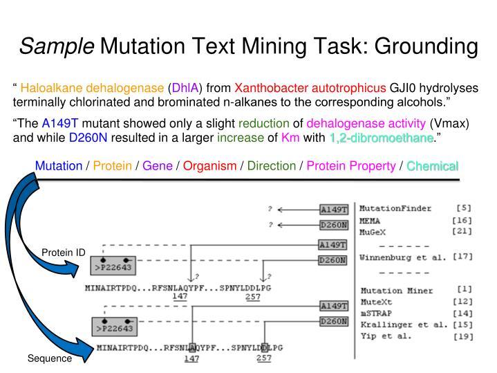 Sample mutation text mining task grounding