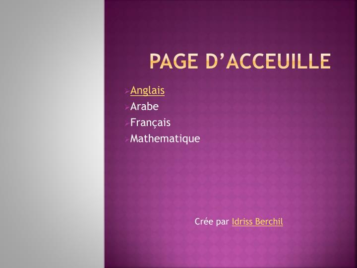 Ppt Page D Acceuille Powerpoint Presentation Free