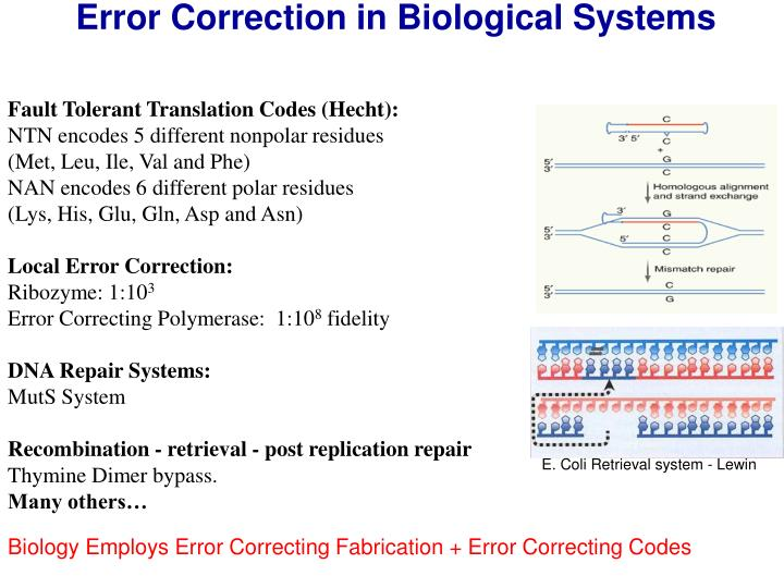 Error Correction in Biological Systems