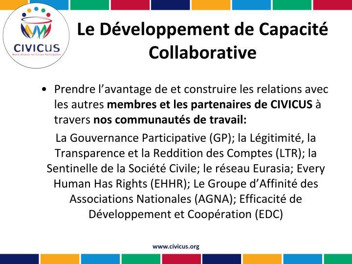 Le Développement de Capacité Collaborative