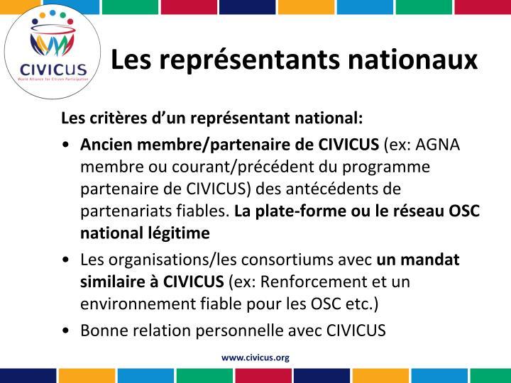 Les représentants nationaux