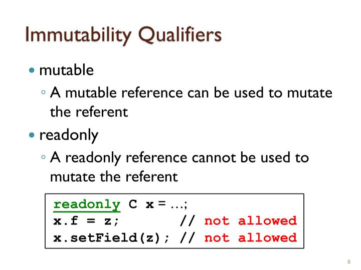 Immutability Qualifiers