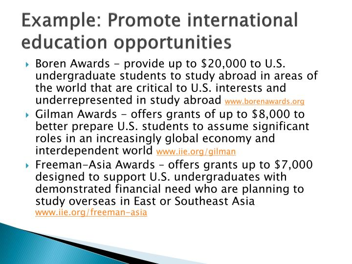 Example: Promote international education opportunities