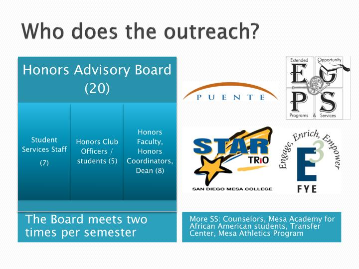 Who does the outreach?
