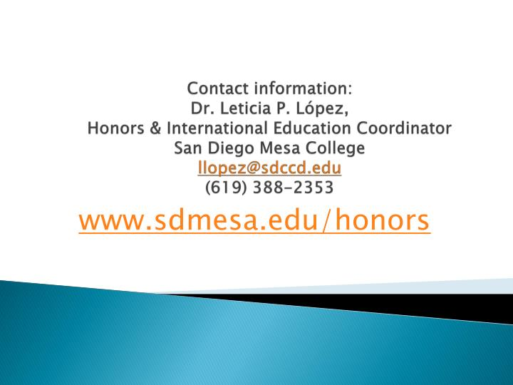 Contact information: