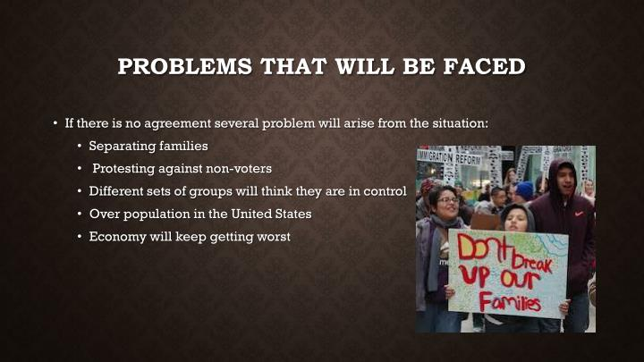 Problems that will be faced
