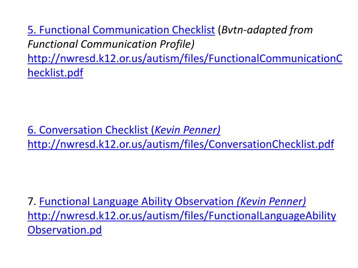 5. Functional Communication Checklist