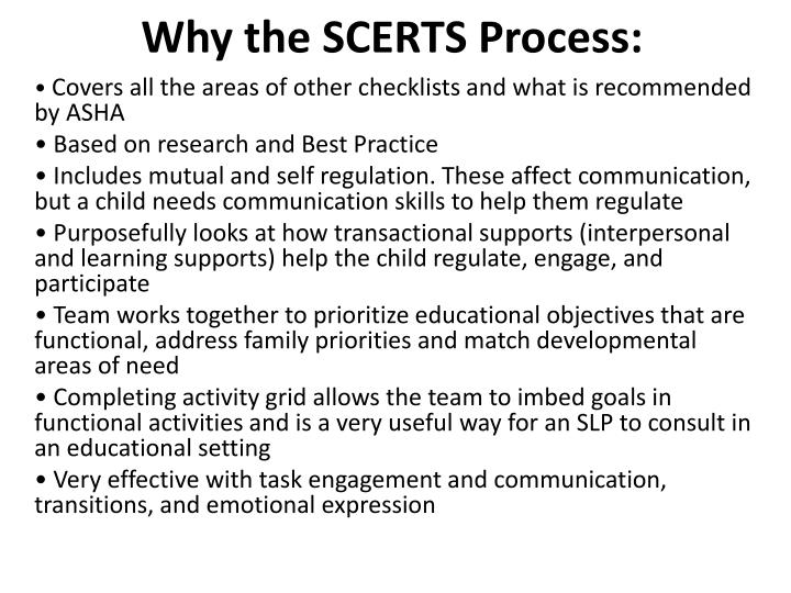 Why the SCERTS Process