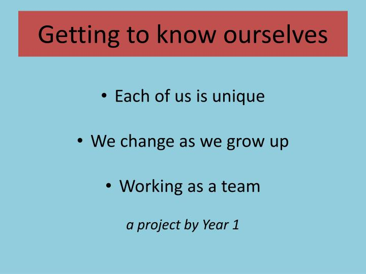 Getting to know ourselves