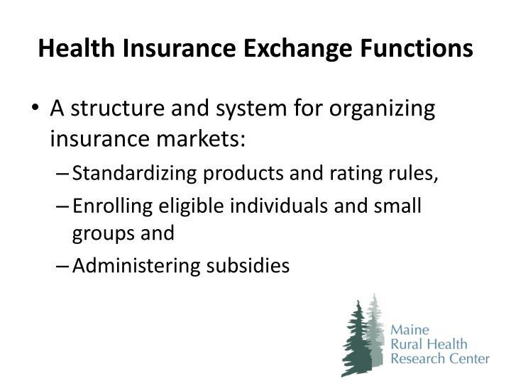 Health Insurance Exchange Functions