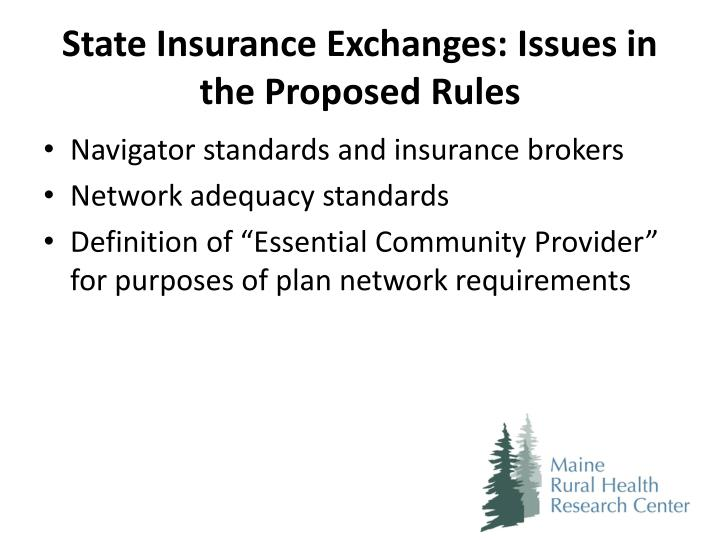 State Insurance Exchanges: Issues in the Proposed Rules