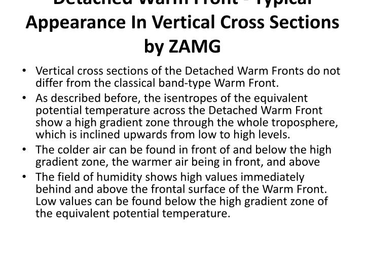 Detached Warm Front - Typical Appearance In Vertical Cross Sections