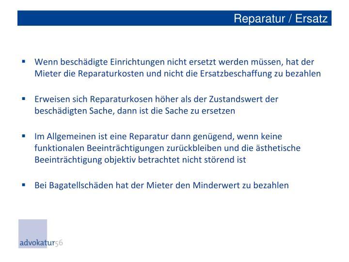 Reparatur / Ersatz
