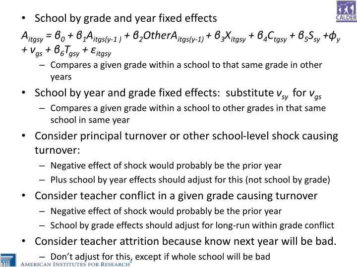 School by grade and year fixed effects