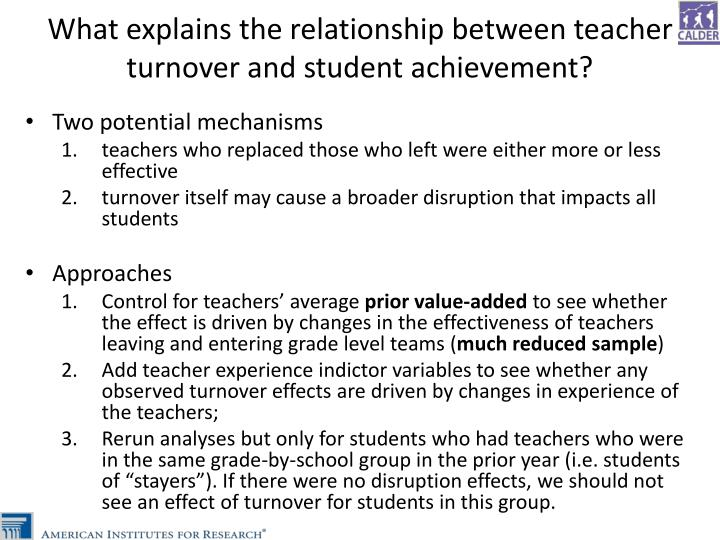 What explains the relationship between teacher turnover and student achievement?