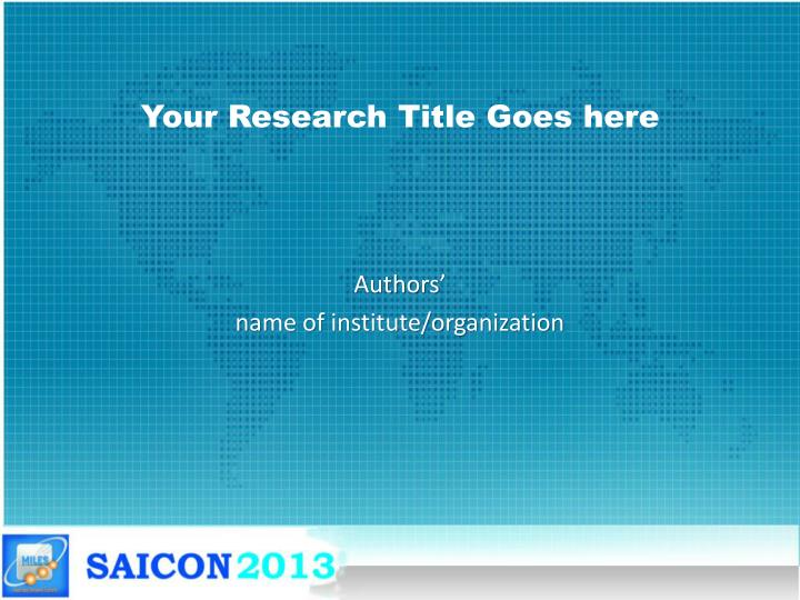 your research title goes here n.