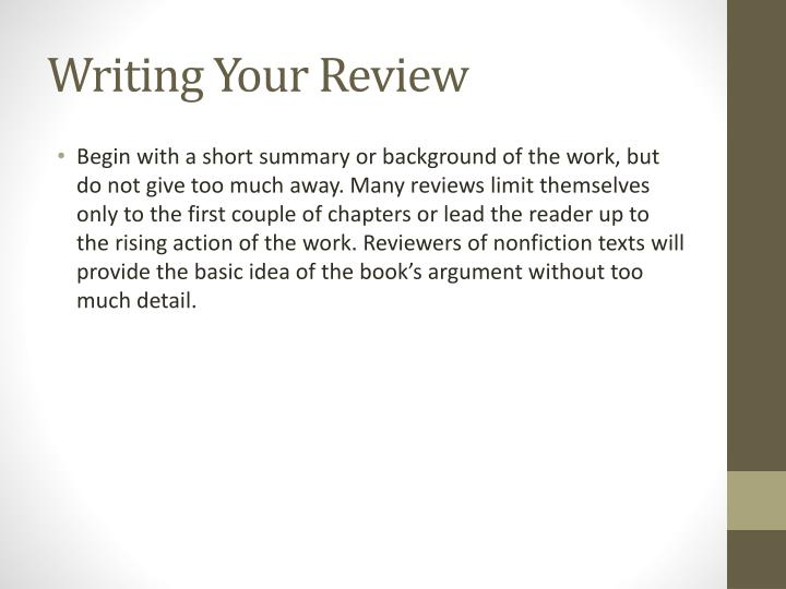 Writing Your Review