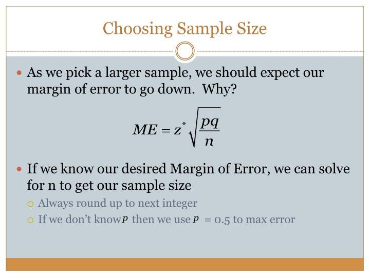 Choosing Sample Size