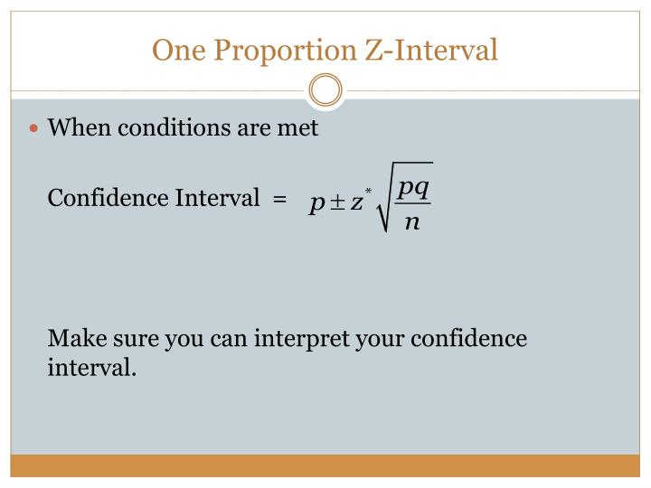 One Proportion Z-Interval