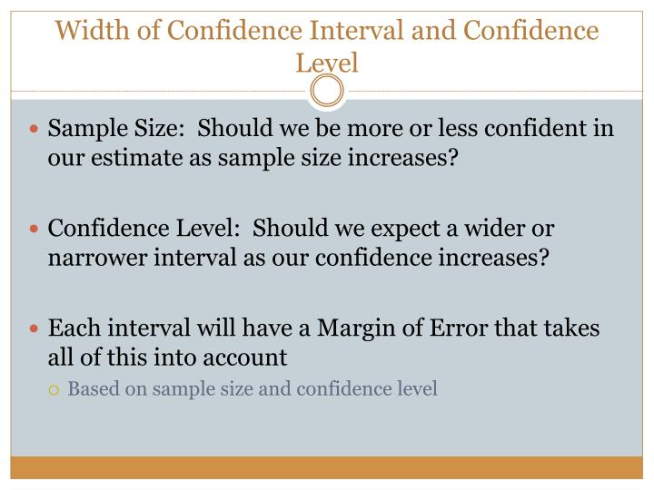 Width of Confidence Interval and Confidence Level