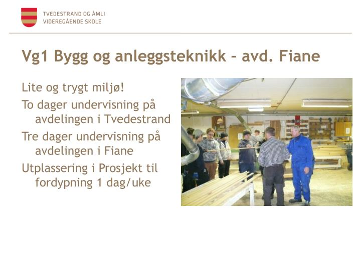 Vg1 Bygg og anleggsteknikk – avd. Fiane