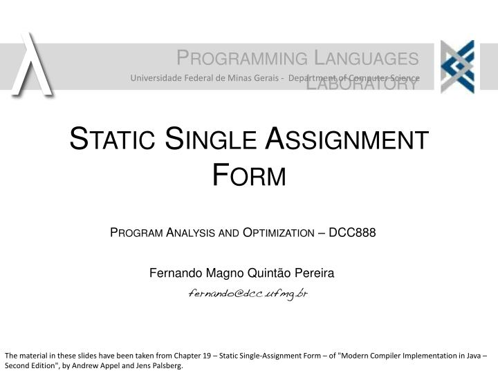 static single assignment form n.