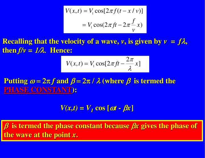 Recalling that the velocity of a wave,