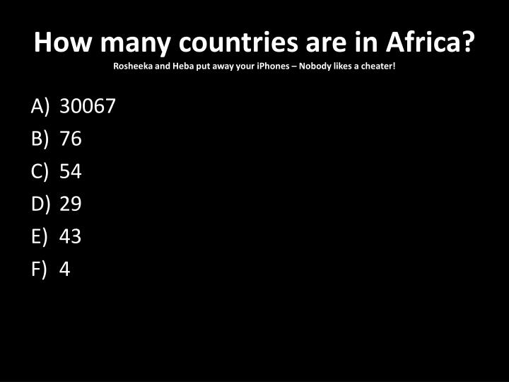 How many countries are in Africa?