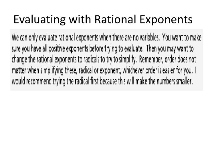 Evaluating with Rational Exponents